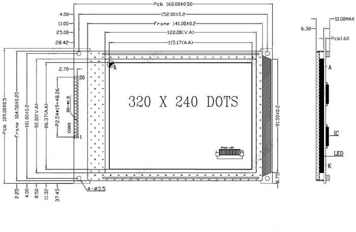 5.7寸lcd320240液晶屏蓝膜图形点阵液晶显示屏ra8835控制器 5v
