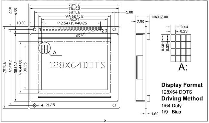lcd12864液晶屏蓝底白字图形点阵液晶显示屏控制器ks0108